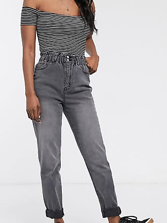 Urban Bliss paper bag waist mom jeans-Black