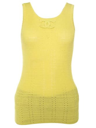 b5ceebeffb35d Chanel Yellow Perforated Rib Knit Logo Applique Detail Sleeveless Tank Top S