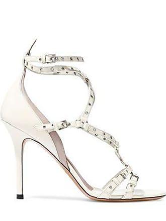 aa0c01c7c560 Valentino Valentino Garavani Woman Eyelet-embellished Patent-leather Sandals  Ivory Size 38.5