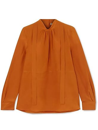 Bottega Veneta Pussy-bow Silk Crepe De Chine Blouse - Orange