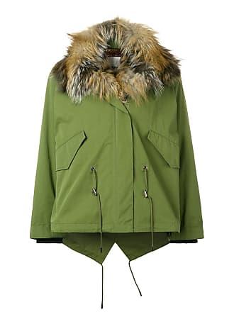 Yves Salomon - Army short cotton jacket with fox fur - Green