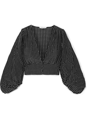 Equipment Sola Cropped Polka-dot Silk Crepe De Chine Top - Black