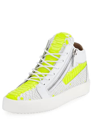 f1340c8466f7 Giuseppe Zanotti Mens Neon Snake Double Zip Mid-Top Sneaker