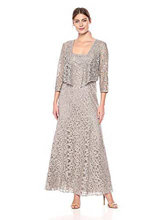 Alex Evenings Womens Long Lace Jacket Dress, Pewter Frost, 8