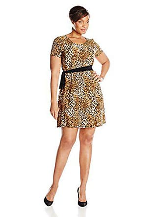 9dfe4bc7ffcf Star Vixen Womens Plus-Size Short Sleeve Dress with Side Tie, Leopard, 1X