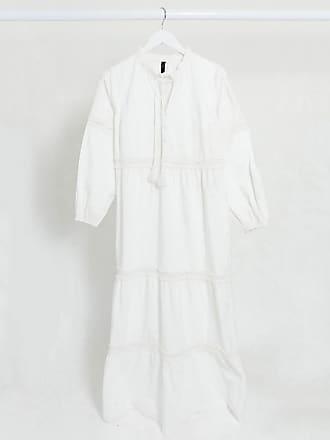 Y.A.S Katoenen lange jurk met broderie en strikbandjes in wit