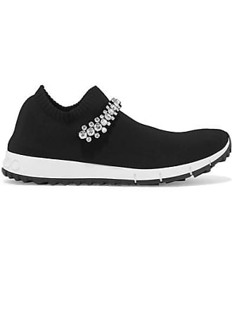 6954d9af21c7 Jimmy Choo London Verona Crystal-embellished Stretch-knit Sneakers - Black