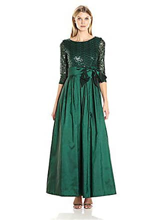 95c7bda9267c Jessica Howard Womens 3/4 Sleeve Ballgown with Pleated Skirt and Tie Sash,  Green