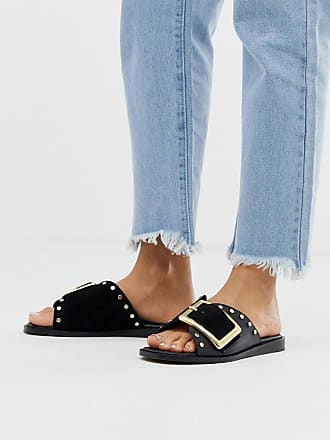 River Island suede sliders with buckle in black-Brown