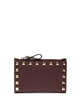 Valentino Rockstud Leather Card And Coin Purse - Womens - Burgundy