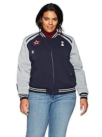 Yoki Womens Plus Size Varsity Fleece Jacket with Applique, Navy 1X