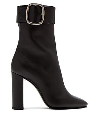 1e3544a76f9 Saint Laurent Joplin Leather Buckle Ankle Boots - Womens - Black