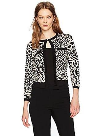 Anne Klein Womens Animal Print Sweater Cardigan, Black/Oyster Shell L