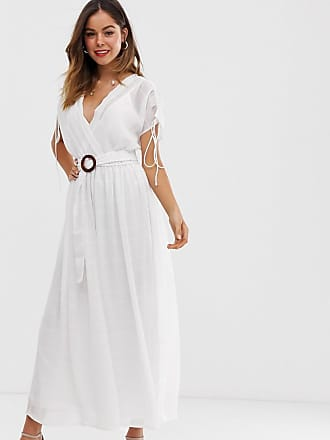 75a679298eb0 Asos wrap front maxi dress with buckle belt in self stripe