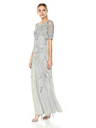 5b351788df1 Adrianna Papell Womens 3 4 Sleev Long Beaded Dress Gown