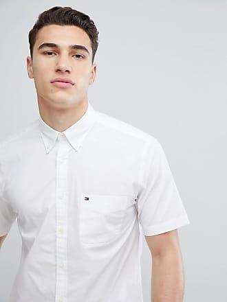 Tommy Hilfiger Vit kortärmad skjorta med button down-krage f7c8ea194ddca