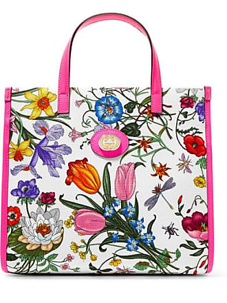 0532b00aa7558 Gucci Flora Medium Leather-trimmed Printed Canvas Tote - Pink