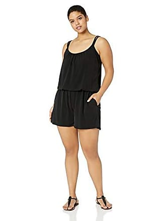0f54f52f5a0 Maxine Of Hollywood Womens Plus-Size Romper One Piece Swimsuit, Black//Solid