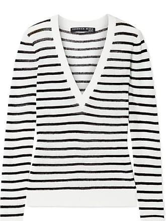 Veronica Beard Dean Striped Ribbed Linen-blend Sweater - Ivory