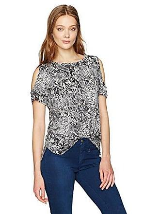 Calvin Klein Womens Short-Sleeve Printed Cold Shoulder Top, Black Animal, S