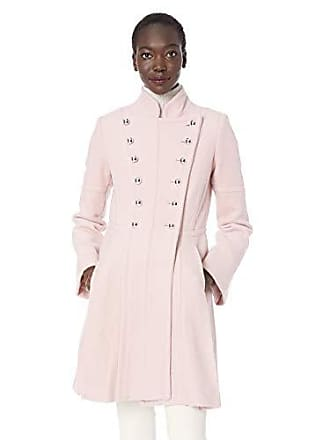 Guess Womens Military Inspired fit and Flare Fashion Wool Coat, Blush, XLarge
