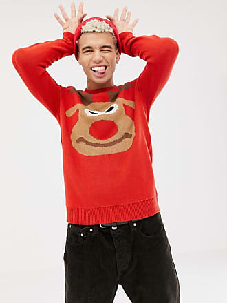 Only & Sons christmas sweater with reindeer front and back design - Red