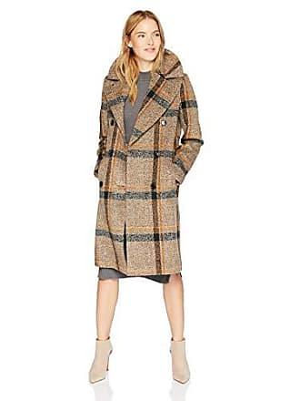 Kendall + Kylie Womens Double Breasted Wool Coat, Brown Plaid, Medium
