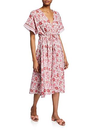 Xirena Grayson Floral-Print Short-Sleeve Drawstring Midi Dress