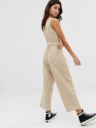 745474b344 Asos button through jumpsuit cord in stone - Beige