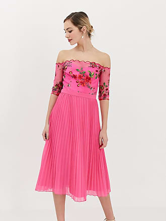 a726275e9d Chi Chi London lace embroidered top midi dress with pleated chiffon skirt  in fuchsia