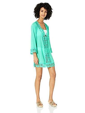 La Blanca Womens Plus Size Lace V-Neck Tunic Dress, Seafoam/Island Fare Print, 2X