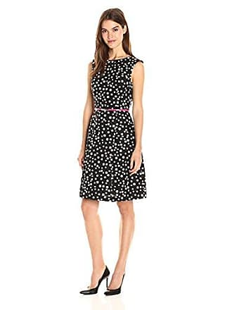 Adrianna Papell Womens Cotton Faille Fit and Flare, Black/Ivory, 4
