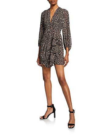 160c62780e99 Shona Joy Buell Animal-Print Plunged Blouson-Sleeve Draped Mini Dress