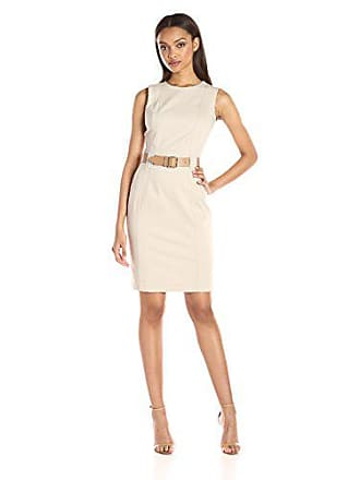 Calvin Klein Womens Sleeveless Round Neck Sheath Dress with Princess Seams, Khaki, 12