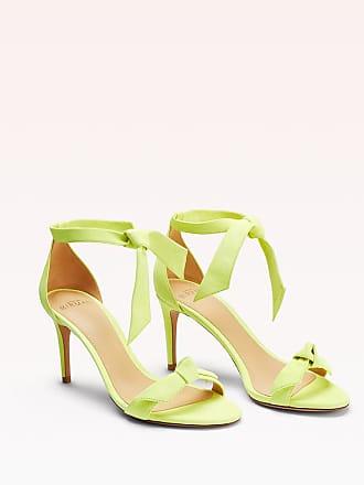 Alexandre Birman Clarita 75 Suede Sandal - 35.5 Neon Yellow Suede