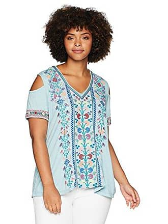 e526564c360c7 Johnny Was Womens Plus Size Embroidered Cold Shoulder Short Sleeve T Shirt