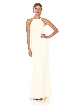 Badgley Mischka Womens Stretch Crepe Halter Gown, Ivory, 12