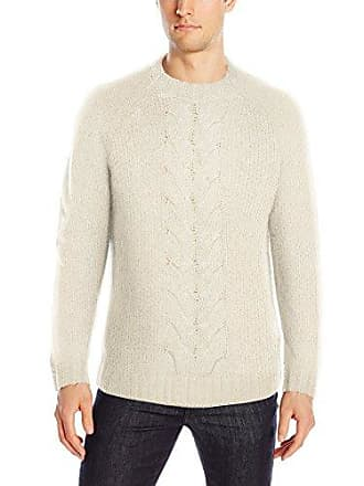French Connection Mens Ridge Cable Sweater, Ecru, M