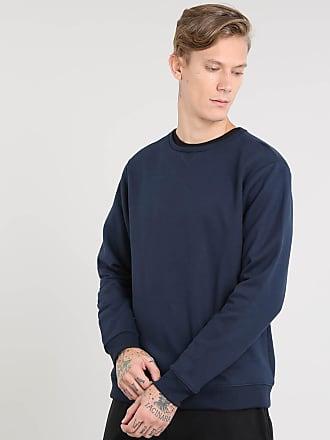 Basics Blusão Masculino Básico em Moletom Azul Marinho