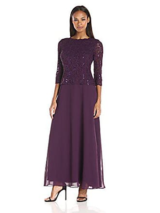 e73aeebd17e Alex Evenings Womens Long Mock Dress with Sequin Lace Bodice and Illusion  3 4 Sleeves
