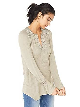 Lucky Brand Womens Long Sleeve Drop Needle Embroidered Top, Natural, S