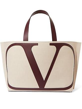 34897e166 Valentino Valentino Garavani Vlogo Escape Large Leather-trimmed Canvas Tote  - Beige