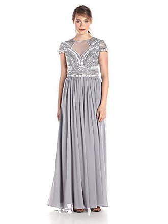 93c61594d4c5 JS Collections Womens Art Deco Short-Sleeved Embellished Notch Neckline Gown  with Chiffon Skirt