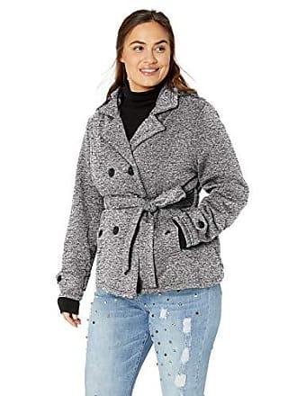Yoki Womens Plus Size Double Breast Fleece Jacket, Heather Grey Space DYE, 2X