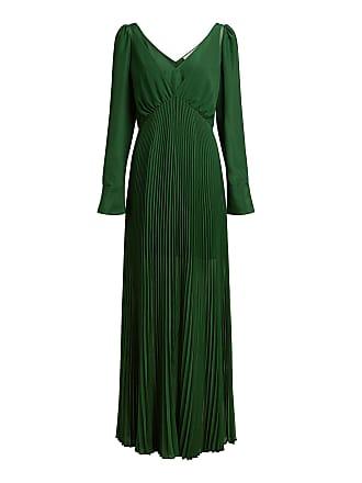 76835d56518c Self Portrait V-neck Chiffon Pleated Maxi Dress Green
