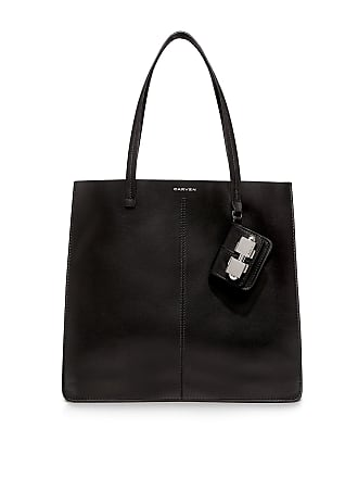 Carven Cabas Leather Tote Bag Black