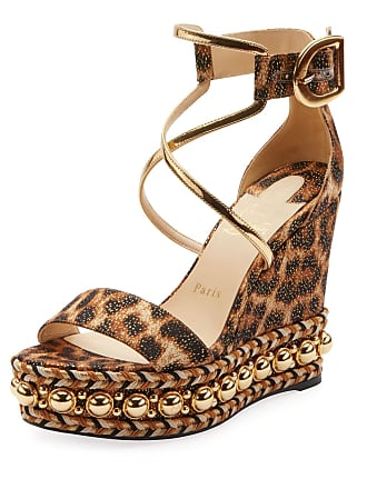 89a911043f2 Christian Louboutin Chocazeppa Leopard Wedge Red Sole Espadrille Sandals