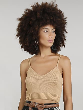 Dress To Top Feminino Dress To Cropped em Tricô Alças Finas Decote V Bege