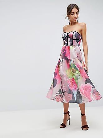 Asos ASOS Axelbandslös blommig midi-festklänning av hopfogad mesh -  Flerfärgad 407a9b7d6b061