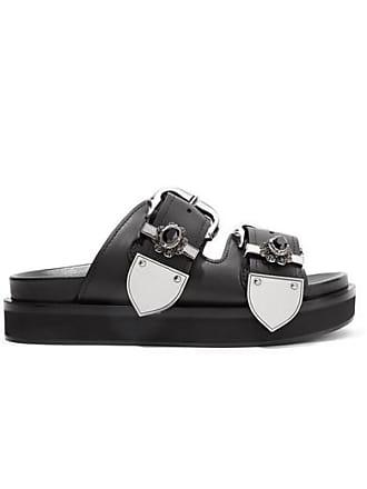 Alexander McQueen Embellished Leather Slides - Black